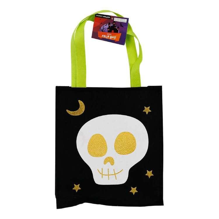 Spooky Hollow Skull Felt Bag