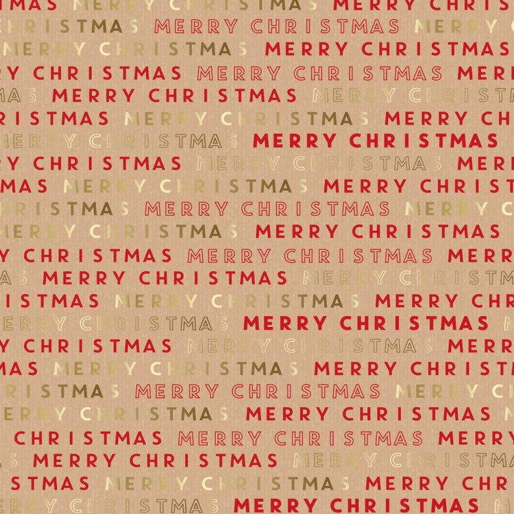 Jolly & Joy Merry Christmas Kraft Wrap