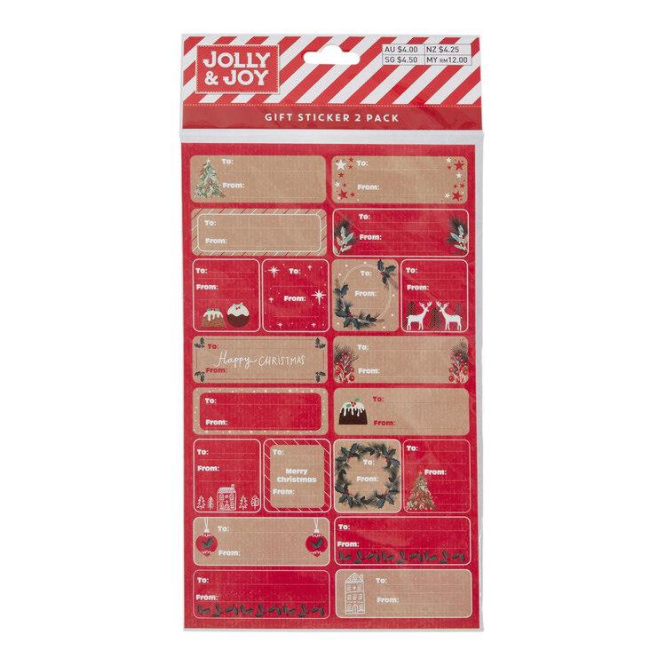 Jolly & Joy Kraft Gift Stickers
