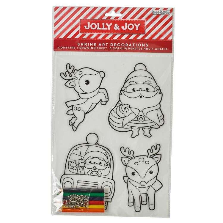 Jolly & Joy Santa Shrink Art Decoration 4 Pack