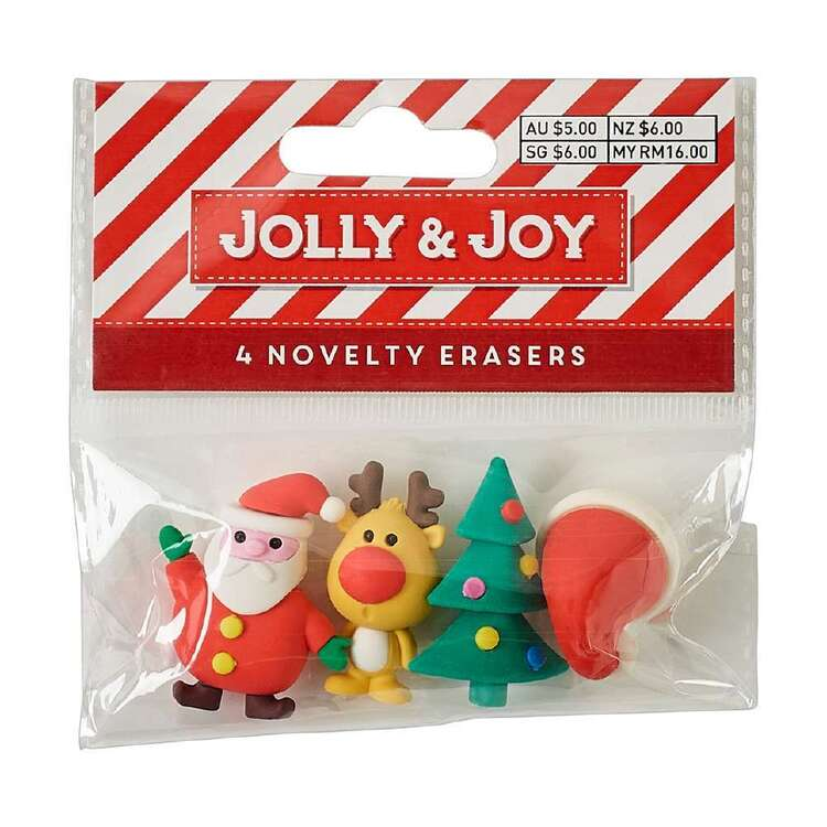 Jolly & Joy Novelty Erasers 4 Pack
