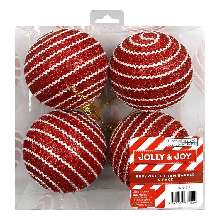 Jolly & Joy Red & White Foam Bauble 4 Pack