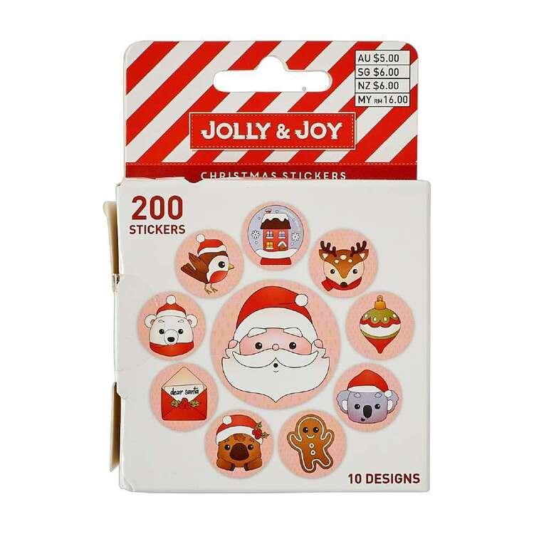 Jolly & Joy Santa Christmas Sticker Roll 200 Pack