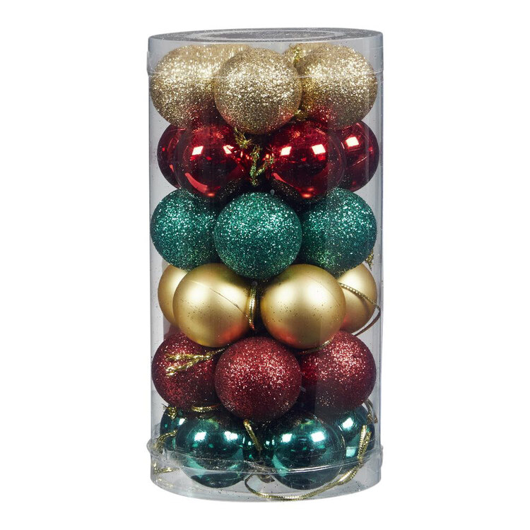 Jolly & Joy Mini Traditional Baubles 30 Pack
