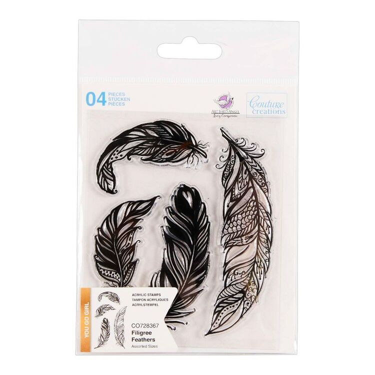 Couture Creation You Go Girl Filigree Feathers Stamp Set