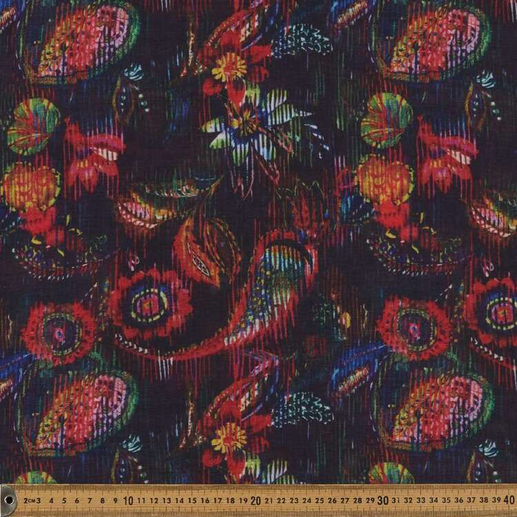 Paisley Floral G10 Printed 140 cm Pippa EZ Care Crepe Fabric