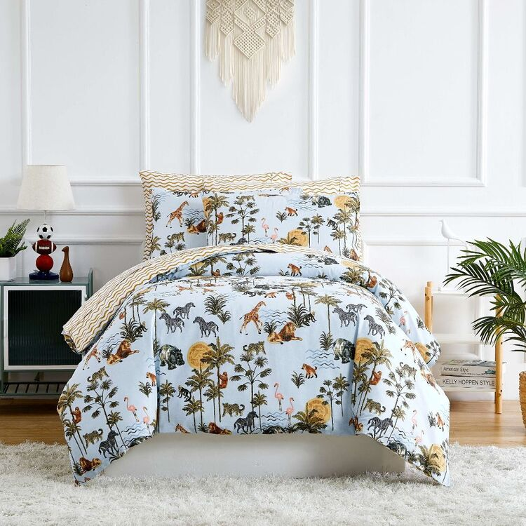 Kids House Jungle Washed Cotton Quilt Cover Set