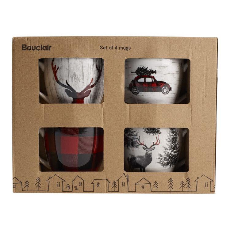 Bouclair Black Nostalgia Set of 4 Buffalo Mugs