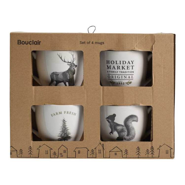 Bouclair Black Nostalgia Set of 4 Vintage Mugs