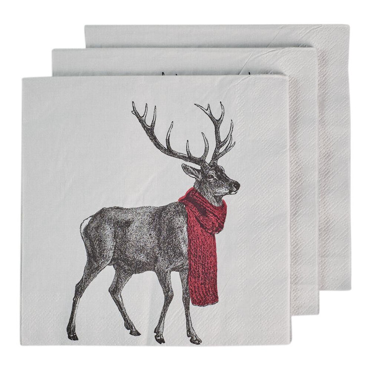 Bouclair Black Nostalgia 20 Pack Deer Napkins