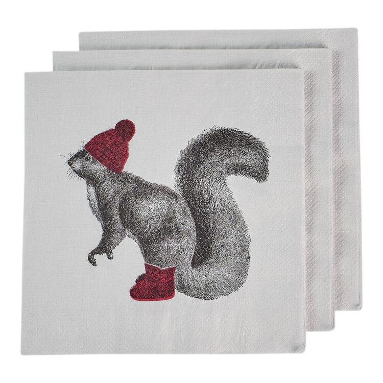 Bouclair Black Nostalgia 20 Pack Squirrel Napkins