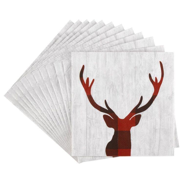 Bouclair Black Nostalgia 20 Pack Buff Deer Napkins