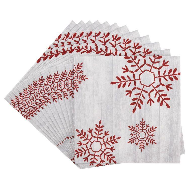Bouclair Black Nostalgia 20 Pack Snowflake Napkins