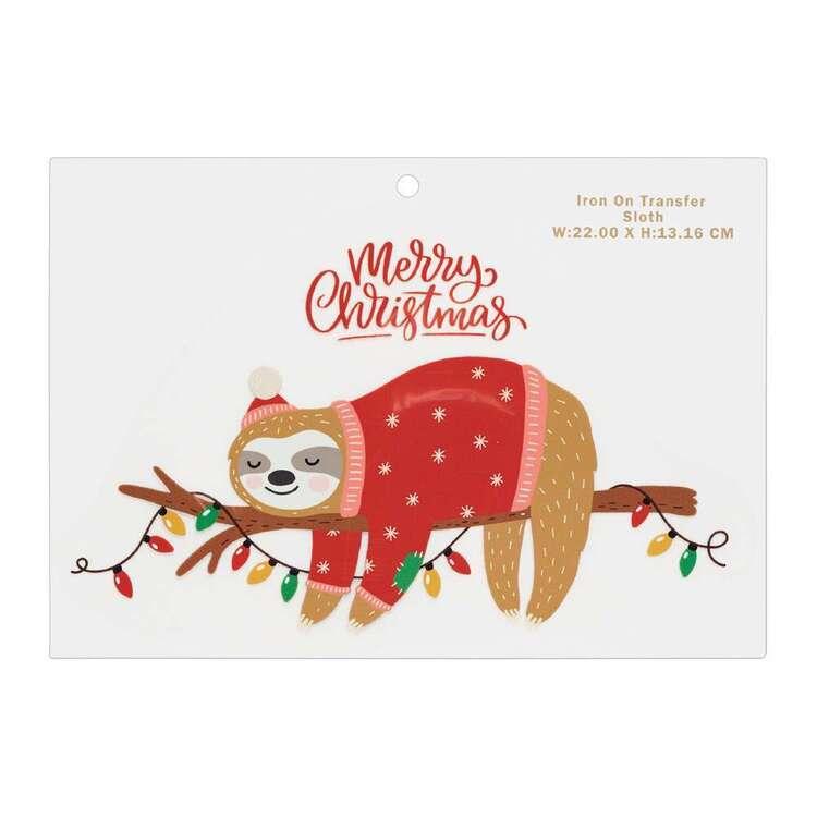 Maria George Christmas Sloth Iron on Transfer