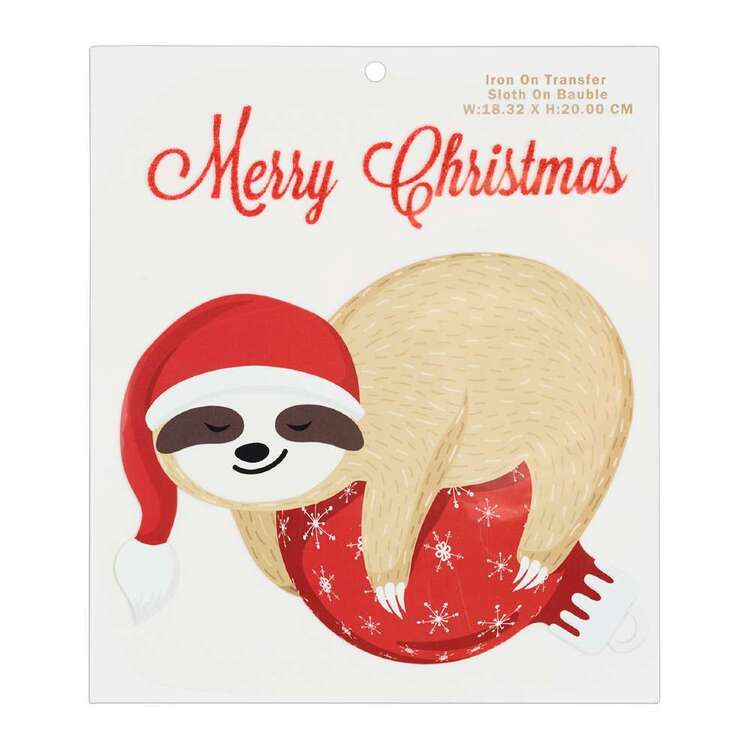 Maria George Christmas Sloth On Bauble Iron on Transfer
