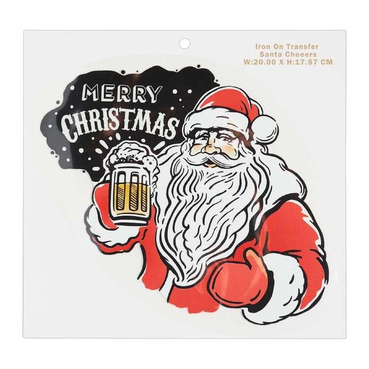 Maria George Christmas Santa Cheers Iron on Transfer