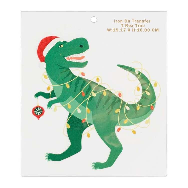 Maria George T-Rex Christmas Tree Iron on Transfer