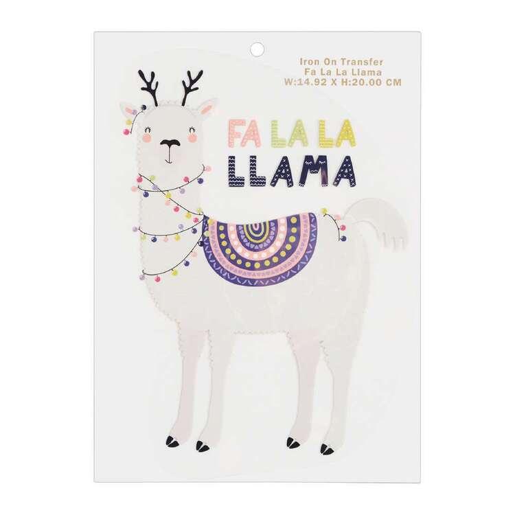 Maria George Christmas Fa La La Llama Iron on Transfer