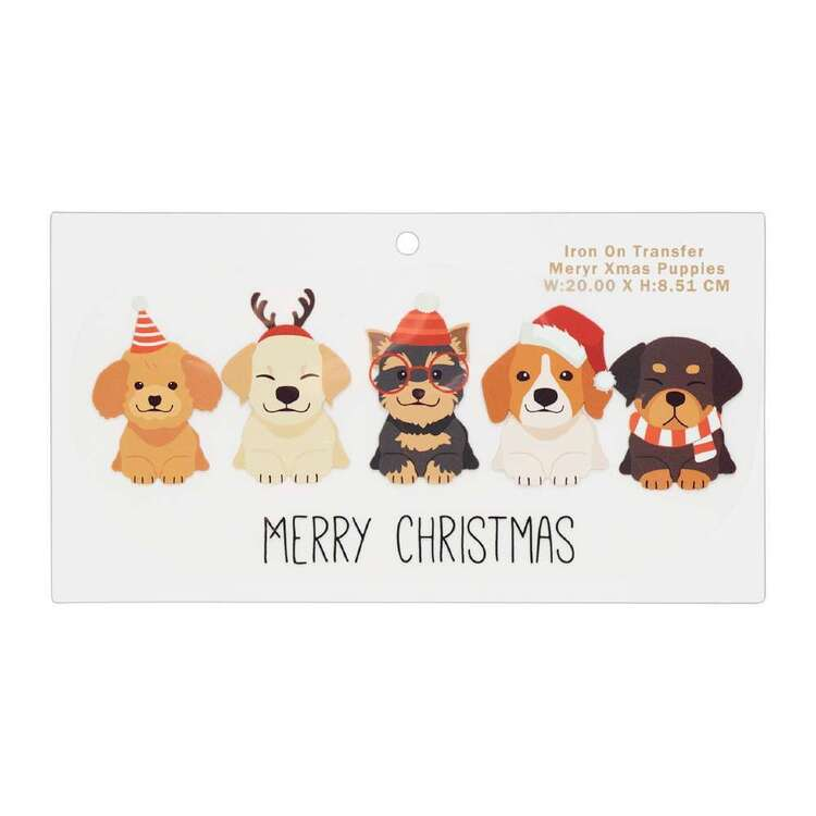Maria George Merry Christmas Puppies Iron on Transfer
