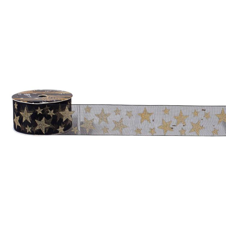 Metallic Star Christmas Organza Ribbon