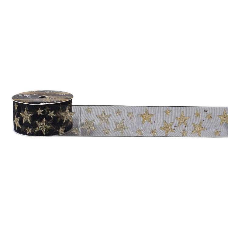 Christmas Stag Metallic Organza Ribbon