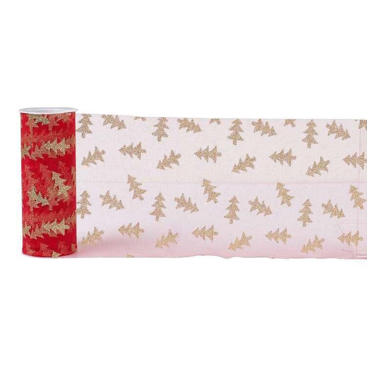 Christmas Tree Glitter Tulle Ribbon