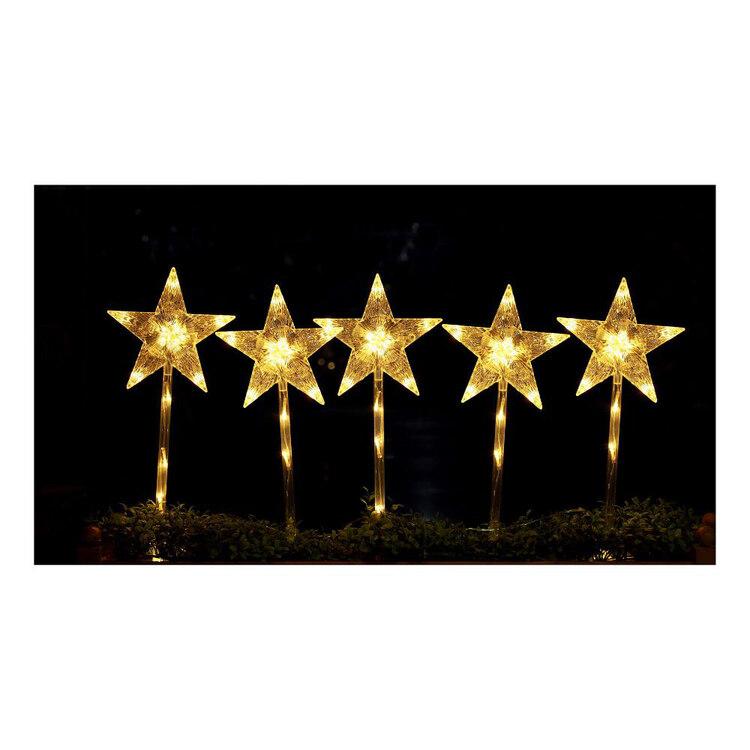 Jolly & Joy Solar LED Star Stakes 5 Pack