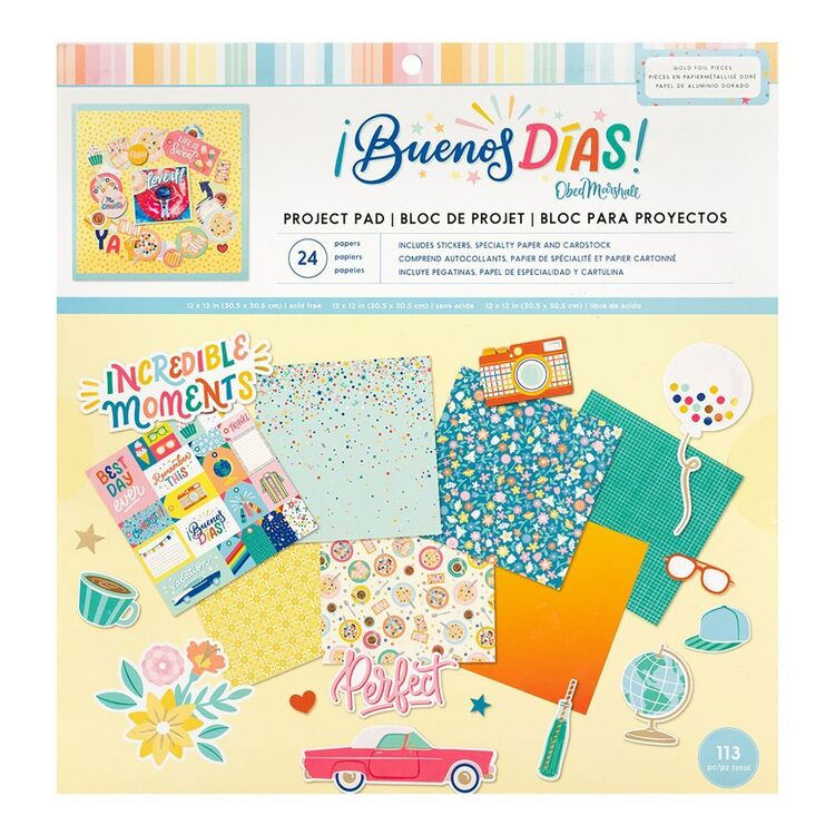 American Crafts Obed Marshall Bunenos Dias 12 x 12 in Project Pad