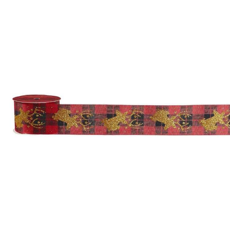 Plaid Stags Traditional Christmas Jute Linen Ribbon