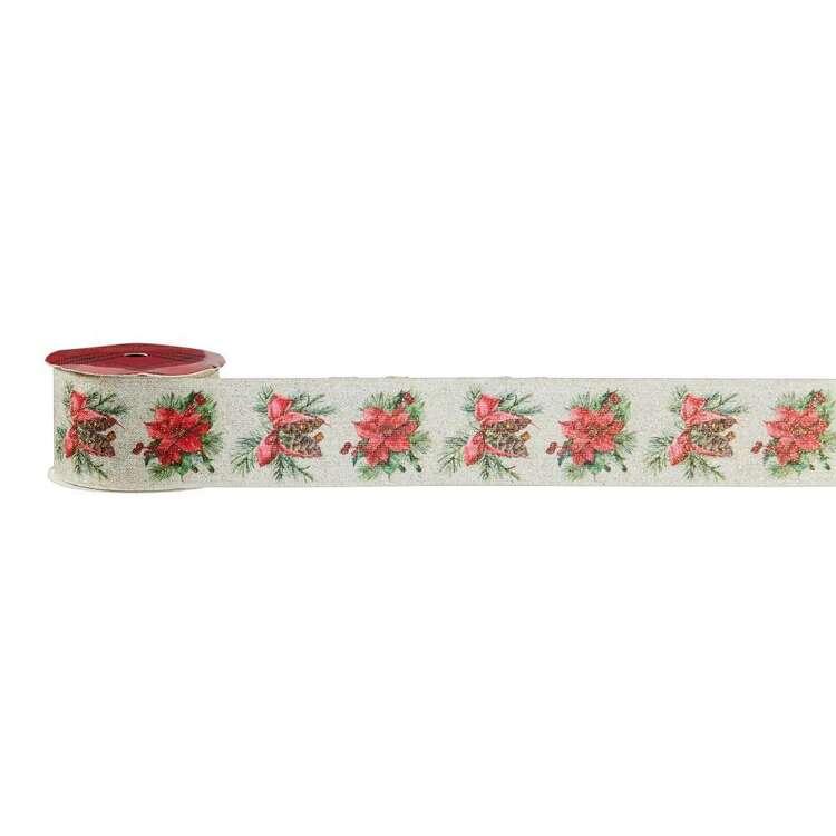 Poinsettia & Pine Traditional Christmas Jute Linen Ribbon