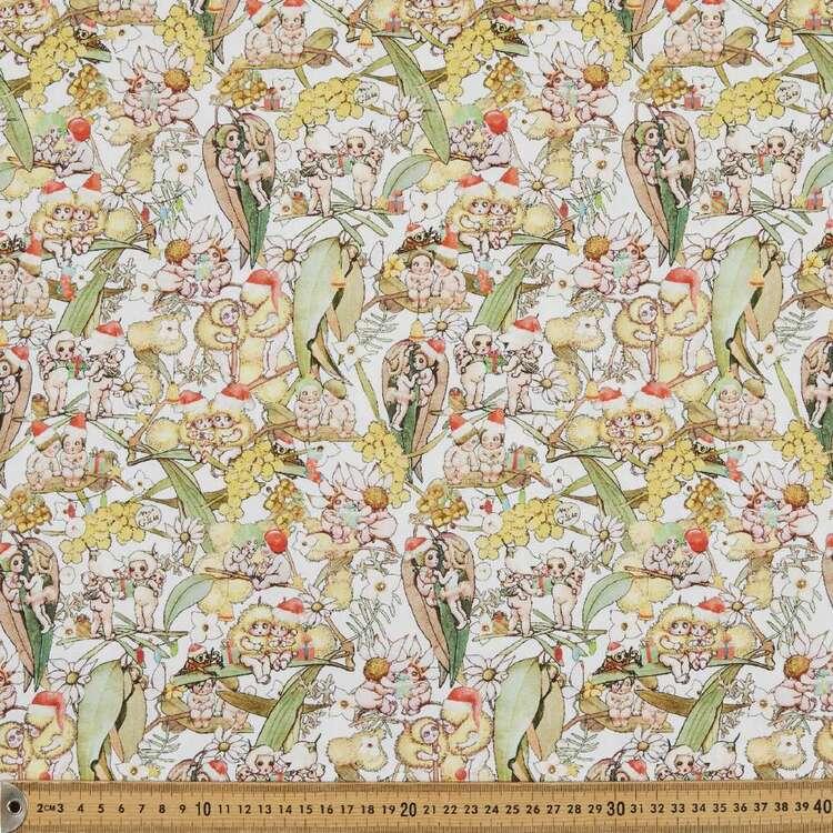 May Gibbs Christmas Gossiping Gumnut Printed 112 cm Homespun Cotton Fabric