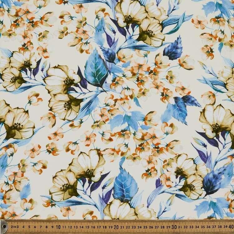 White Magnolia Printed 135 cm Rayon Fabric