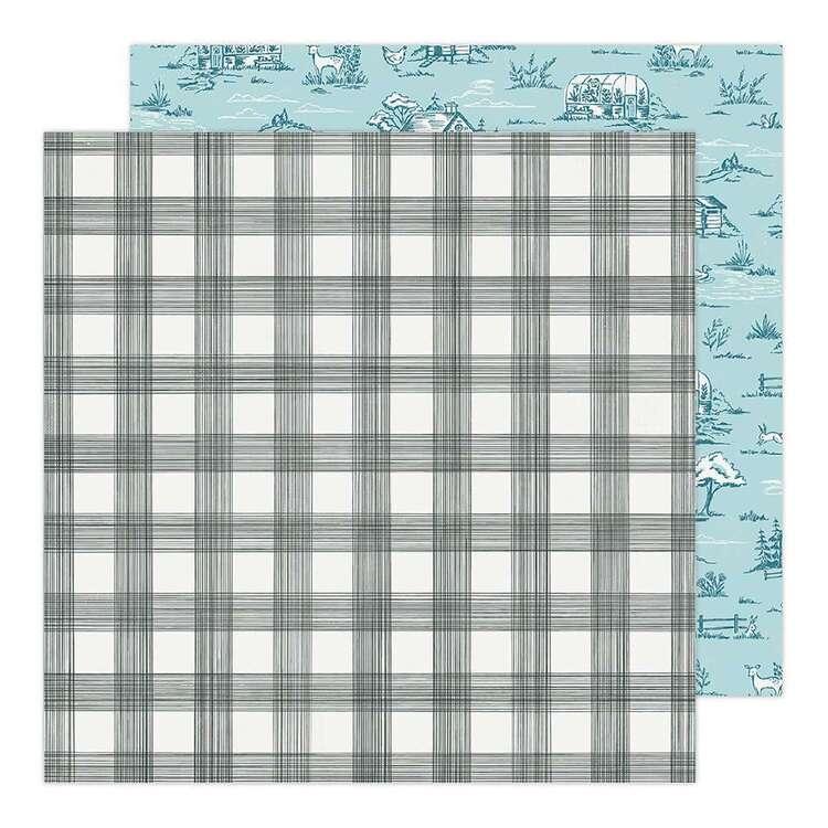 American Crafts 12 x 12 in Black White Plaid Paper Pad
