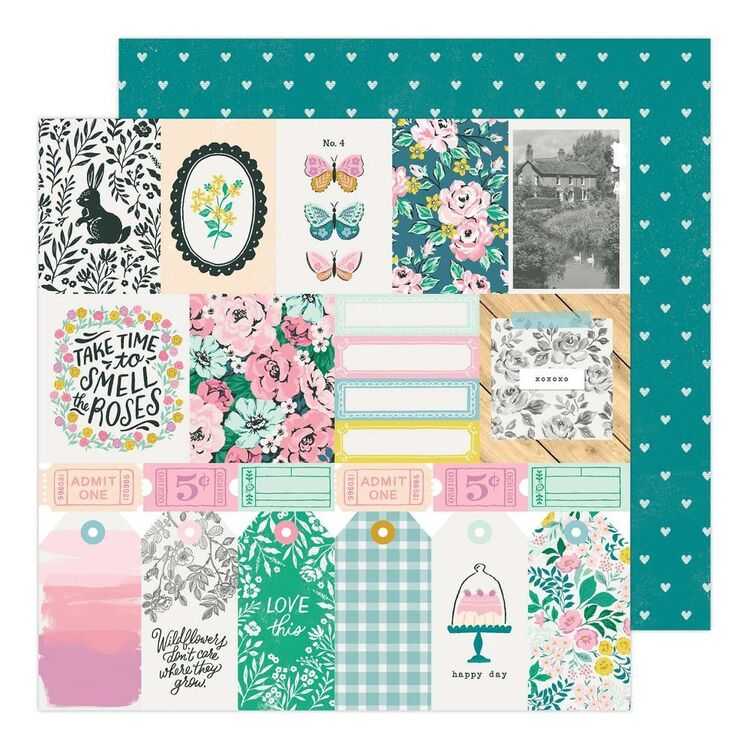 American Crafts Garden Party Happy D 12 x 12 in Paper Pad
