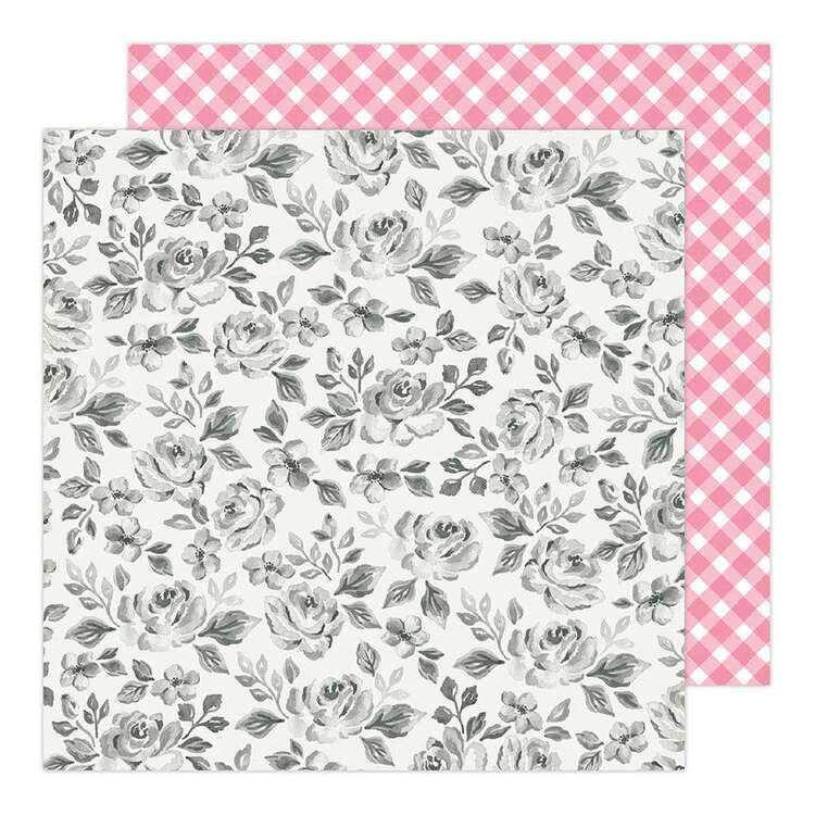 American Crafts 12 x 12 in Black White Foral Paper Pad