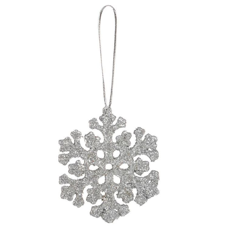 Bouclair Frosty Moments Set Of 12 Glitter Snowflake Ornaments