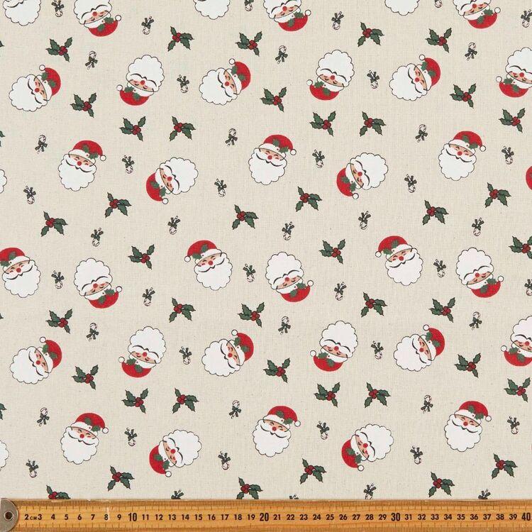 Osnaberg Christmas Santa Face Printed 112 cm Cotton Fabric