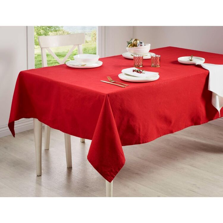 Living Space Festive Red Noelle Lurex Tablecloth