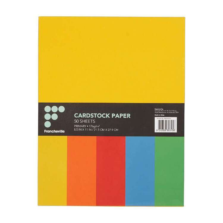 Francheville Primary Colour Cardstock 50 Pack