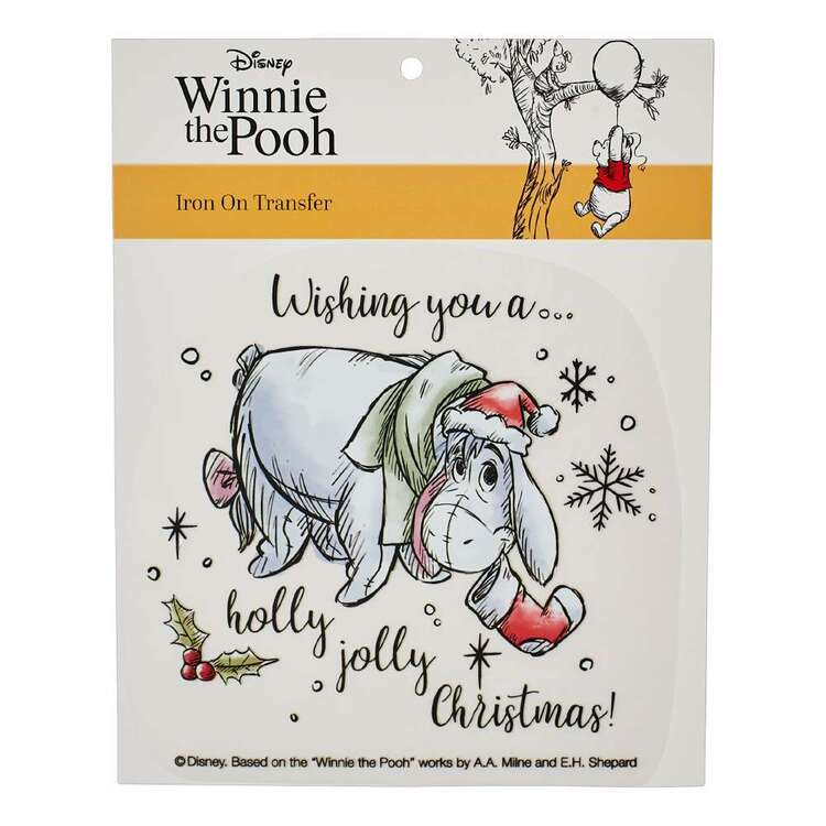 Disney Christmas Winnie The Pooh Eeyore Iron On Transfer