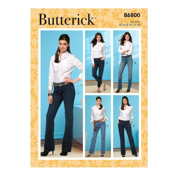 Butterick Sewing Pattern B6800 Misses' Four-Pocket Jeans & Trousers