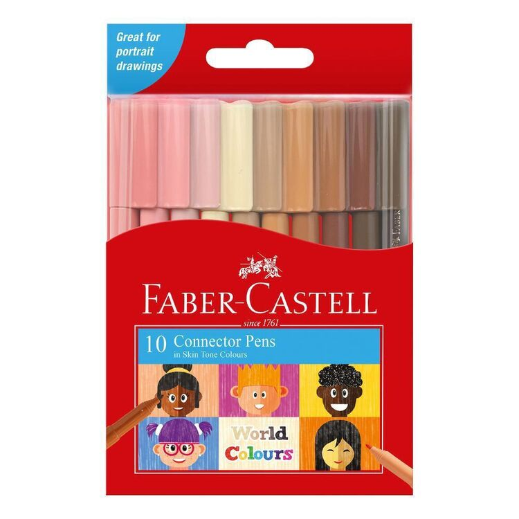 Faber Castell World Colours Skin Tone Connector Pens 10 Pack