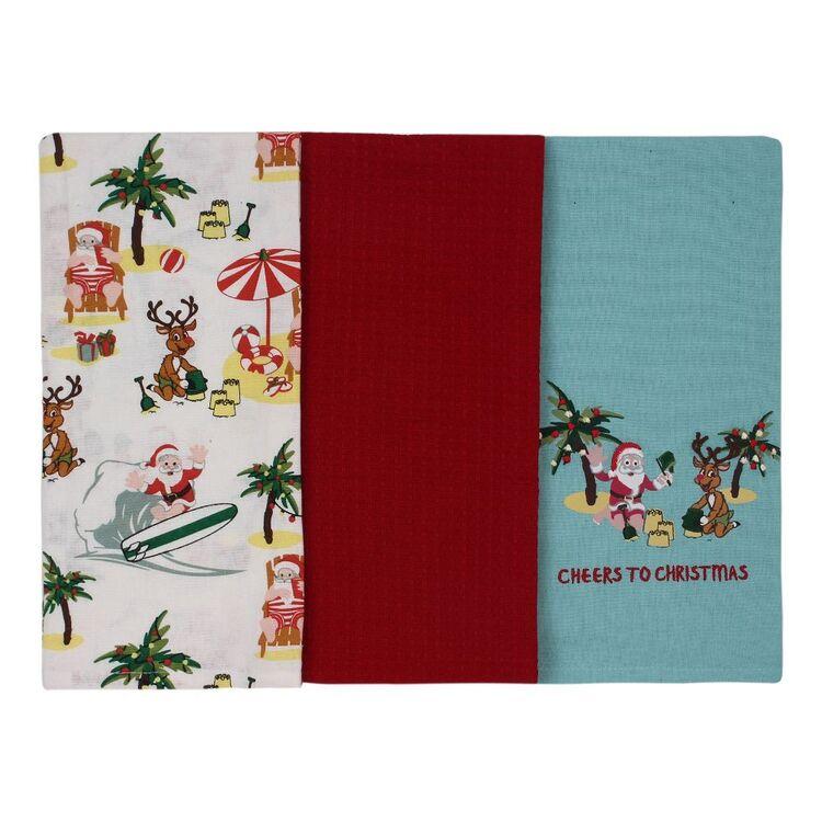 Living Space Festive Beachy Tea Towel 3 Pack
