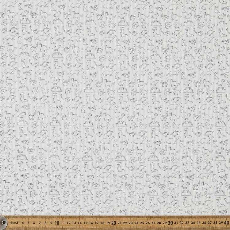 Dinosaur Printed 150 cm Waffle Knit Fabric