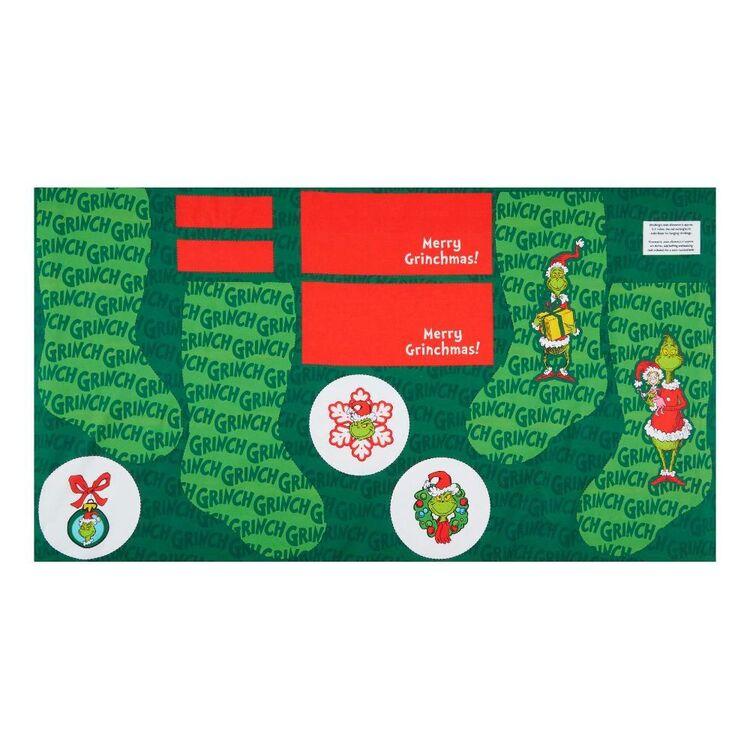 Grinchmas Christmas Stocking Cotton Fabric Panel
