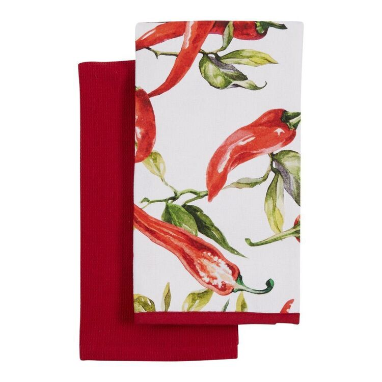 KOO Chilli Set Of 2 Tea Towels