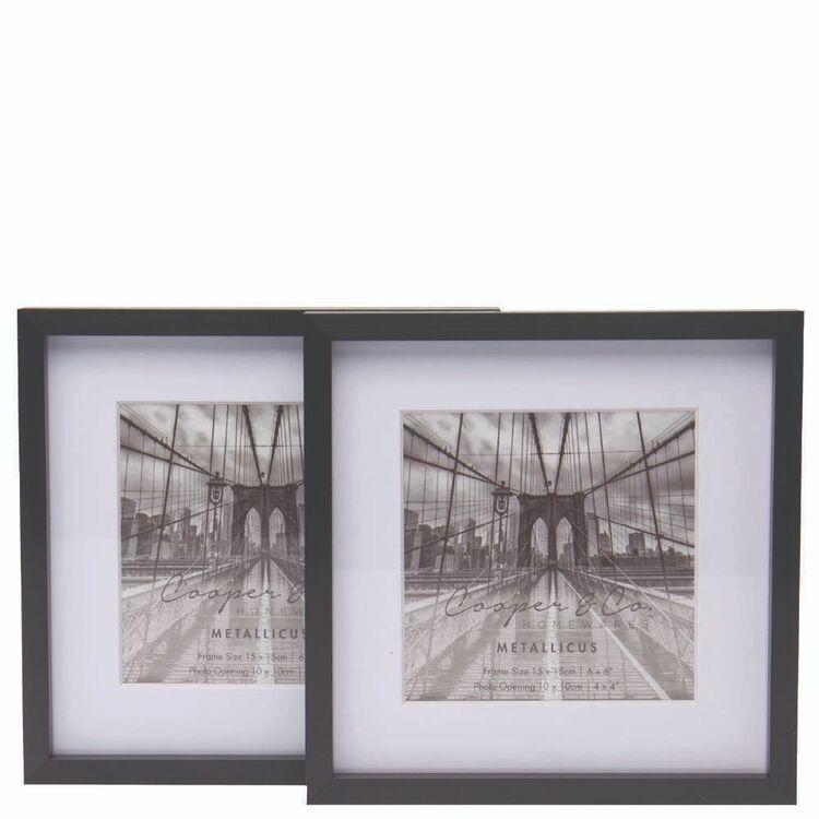 Cooper & Co 2 Pack 15 x 15 cm Platinum Metallic Frames