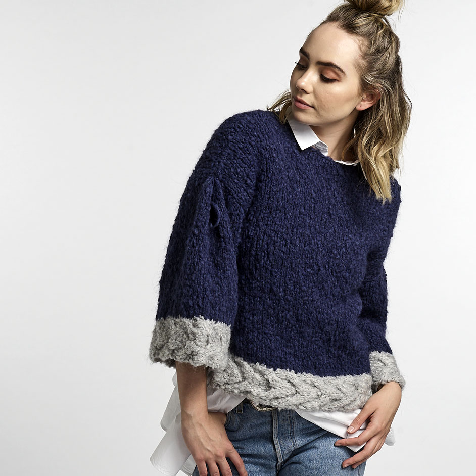 Abbey Road Truly Madly Mohair Jumper With Cable Trim Project