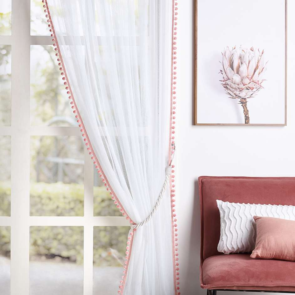 Anne Sheer Curtain With Pom Poms Project