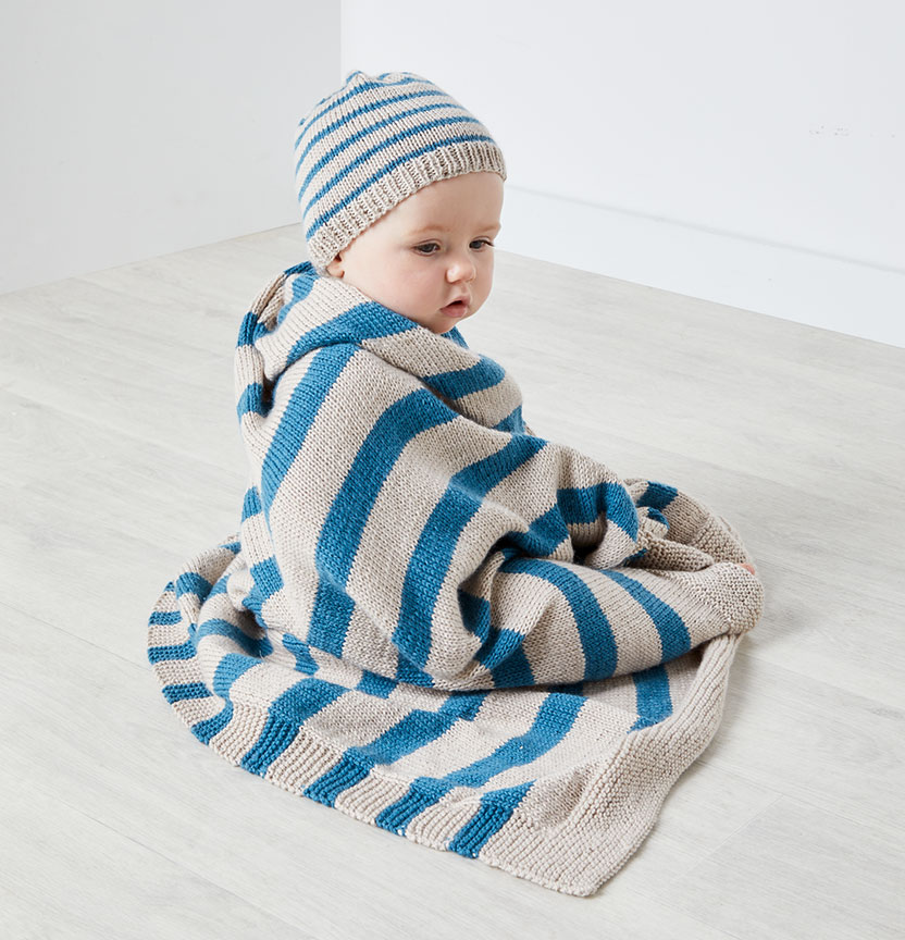 Bella Baby Baby Wonder 8Ply Striped Beanie & Blanket Project